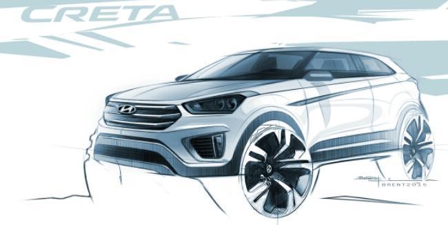 Первые наброски компактного внедорожника Hyundai Creta